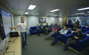 Conference room with student participants