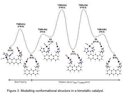 Figure 3: Modelling conformational structure in a bimetallic catalyst.