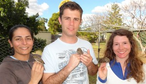 Monica Awasthy, Samuel Andrew and Ann Feit in a backyard near Toowoomba, QLD